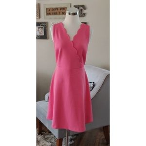 Elle NWT pink scalloped and flare dress